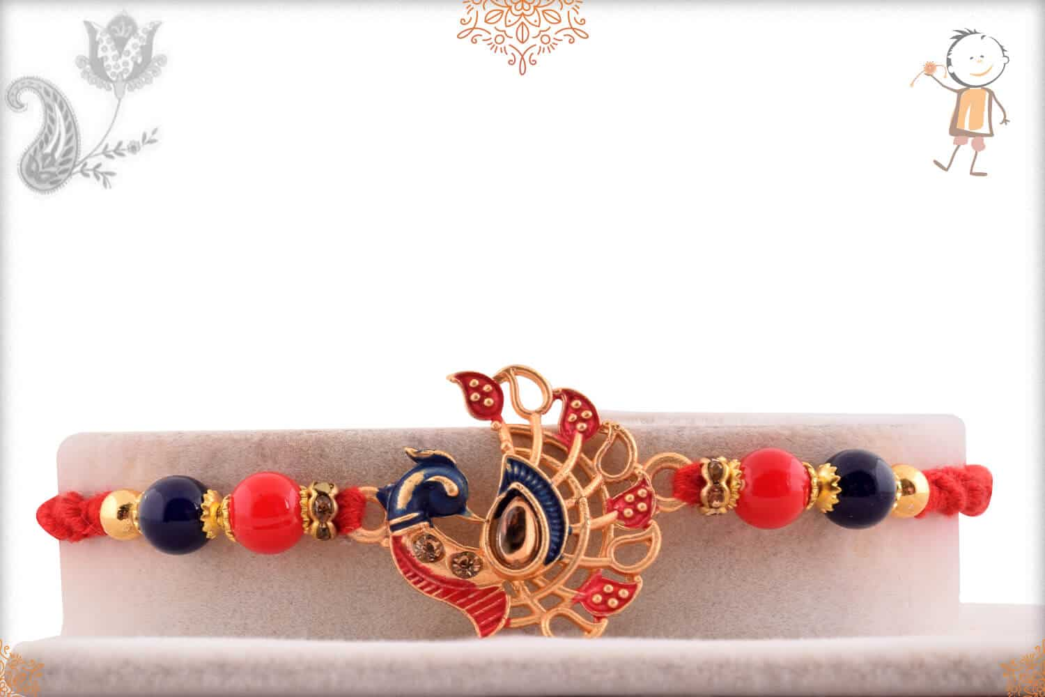 Peacock Rakhi with Red-Blue Beads 1