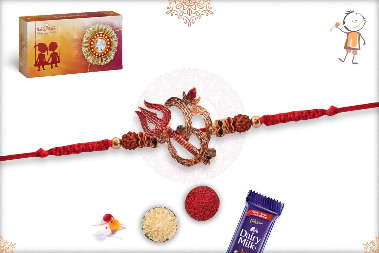Golden Om with Red Trishul Rakhi 2