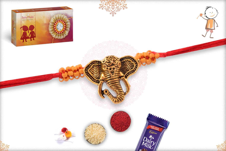 Antique Ganesh Rakhi with Handacrafted Beads 2