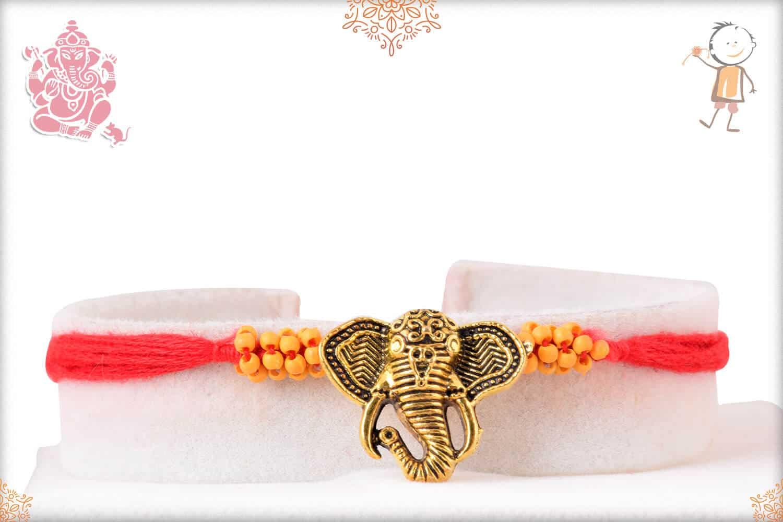 Antique Ganesh Rakhi with Handacrafted Beads 1
