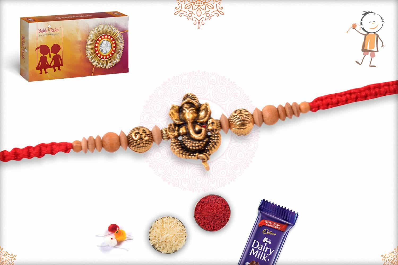 Antique Ganesh Rakhi with Golden Om and Sandalwood Beads 2