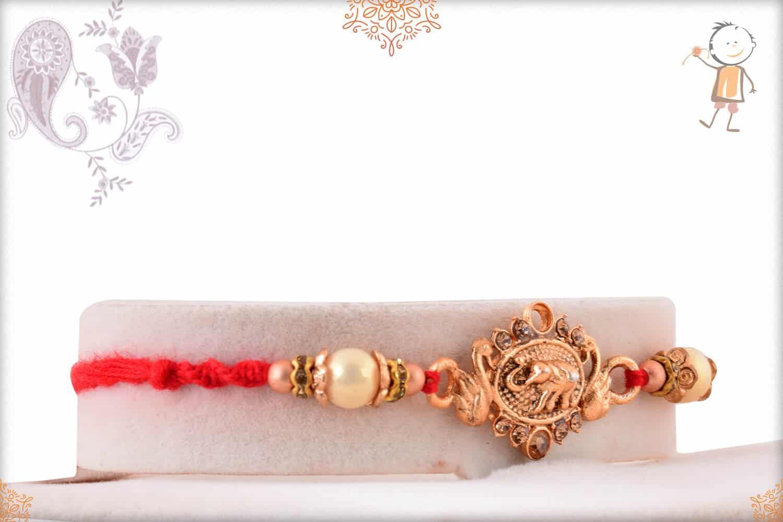 Antique Elephant Rakhi with Beads 2