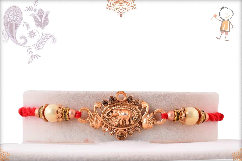 Antique Elephant Rakhi with Beads 1