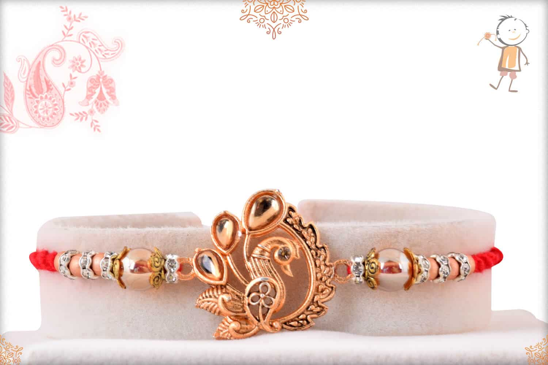 Beautiful Rose Gold Peacock Rakhi 1
