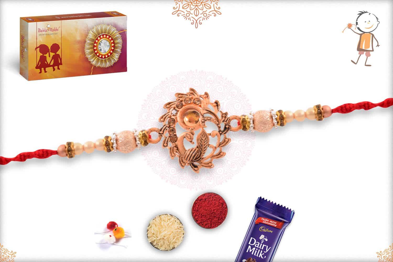 Beautiful Rose Gold Peacock Rakhi with Beads 2