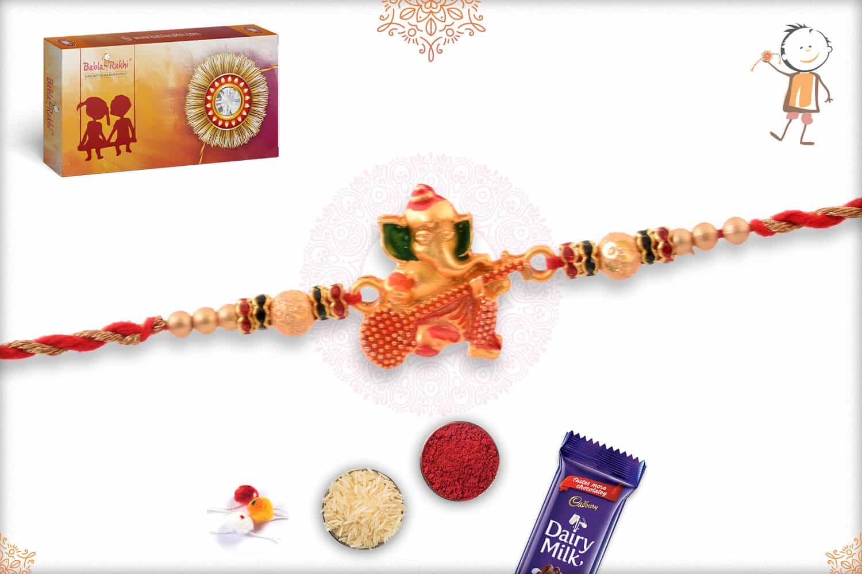 Golden Ganesh Rakhi with Beads 2