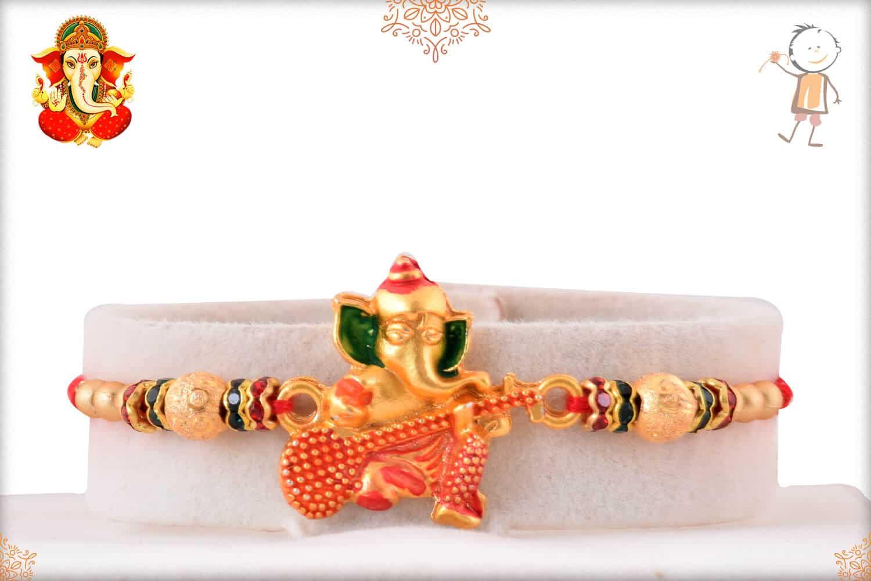 Golden Ganesh Rakhi with Beads 1