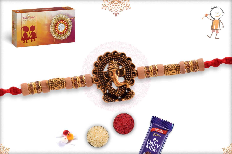Antique Ganesh Rakhi with Unique Golden Beads 2