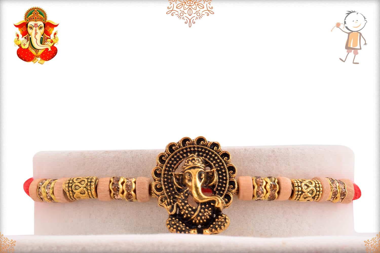Antique Ganesh Rakhi with Unique Golden Beads 1