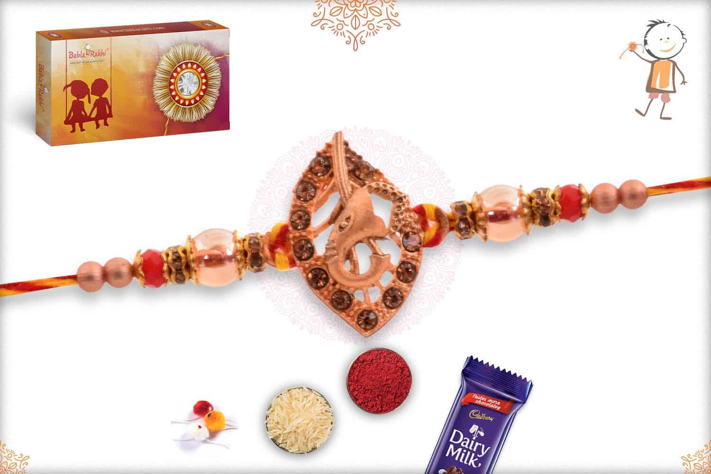Rose Gold Ganesh Rakhi with Beads 2