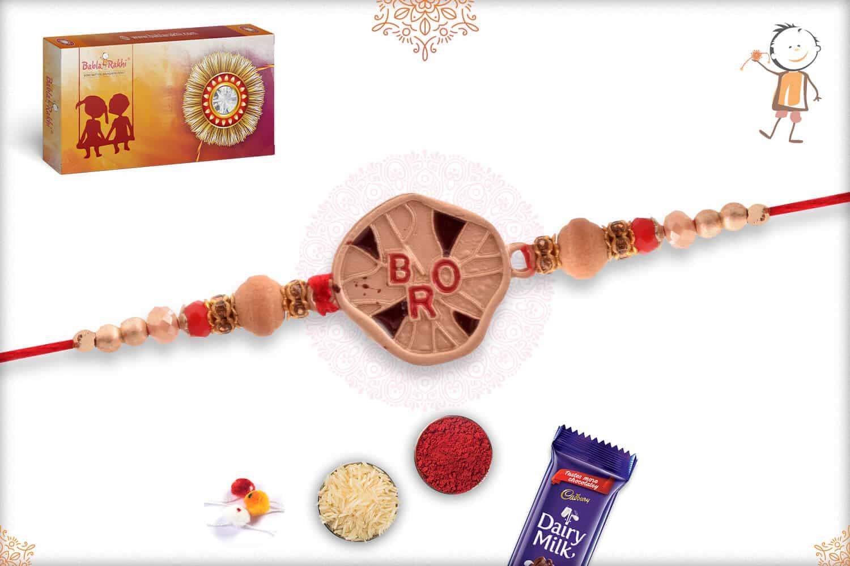 Unique Bro Rakhi with Sandalwood Beads 2