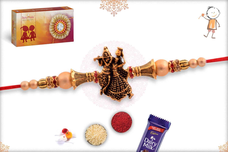 Antique Radha-Krishna Rakhi with Beads 2