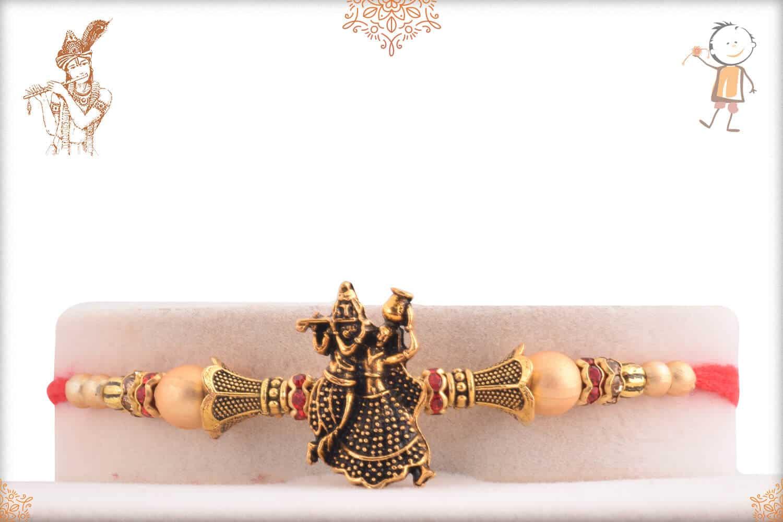 Antique Radha-Krishna Rakhi with Beads 1