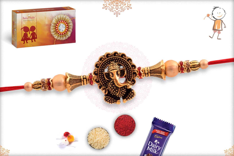 Antique Ganesh Rakhi with Golden Beads 2