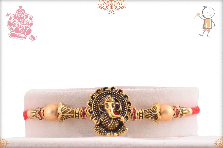 Antique Ganesh Rakhi with Golden Beads 1