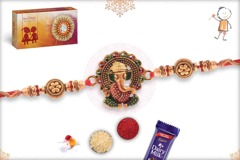 Meenakari Ganesh Rakhi with Flower Beads 2
