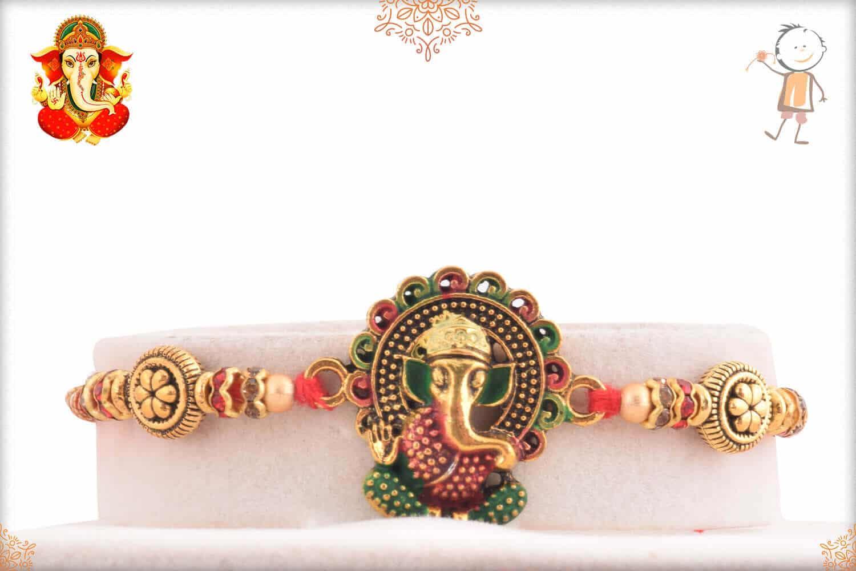 Meenakari Ganesh Rakhi with Flower Beads 1