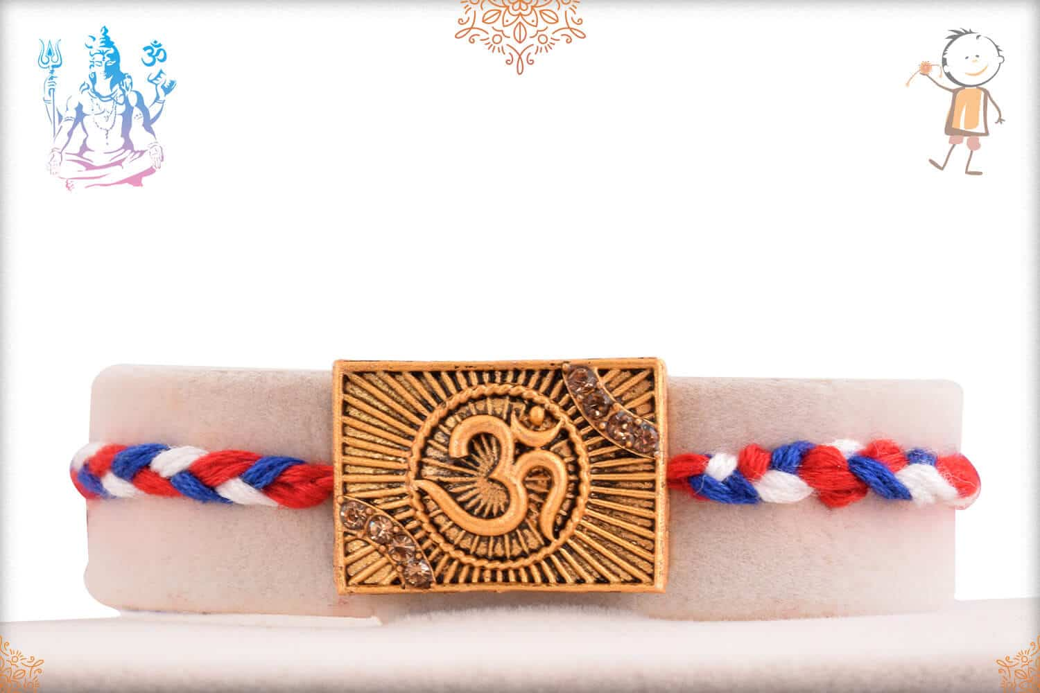 Divine OM Rakhi with Red-Blue Handcrafted Thread 1