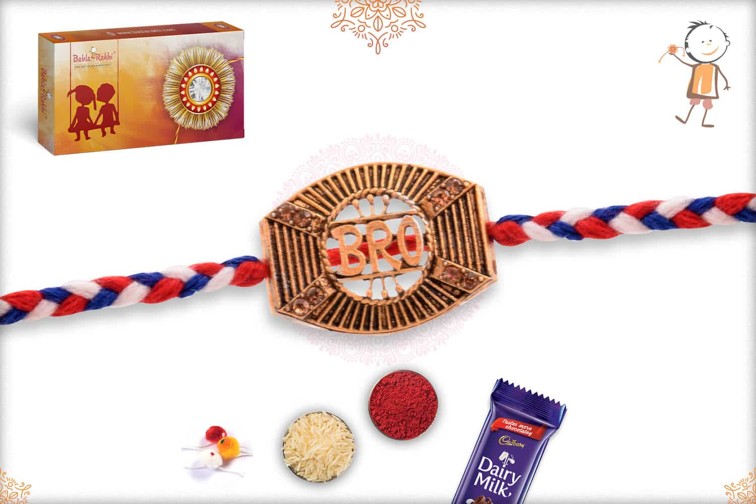 Bro Rakhi with Red-Blue Handcrafted Thread 2