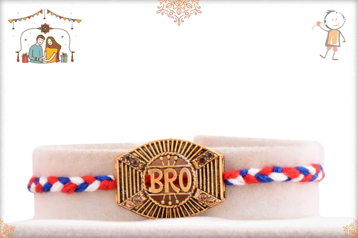 Bro Rakhi with Red-Blue Handcrafted Thread 1