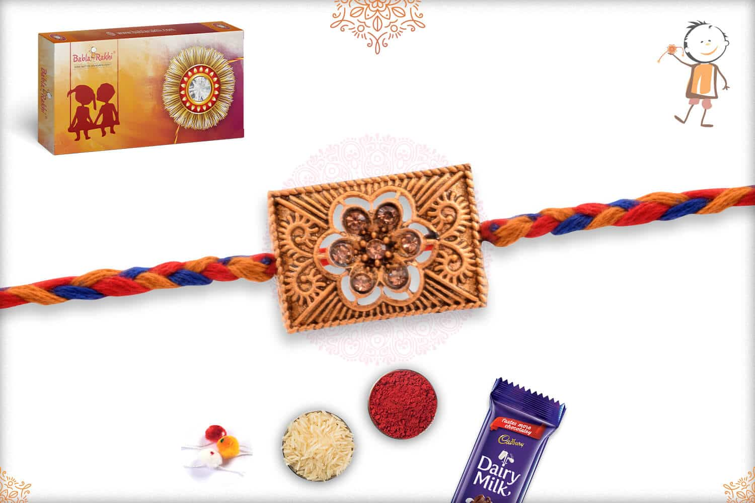 Dimaond Flower Rakhi with Red-Blue Handcrafted Thread 2