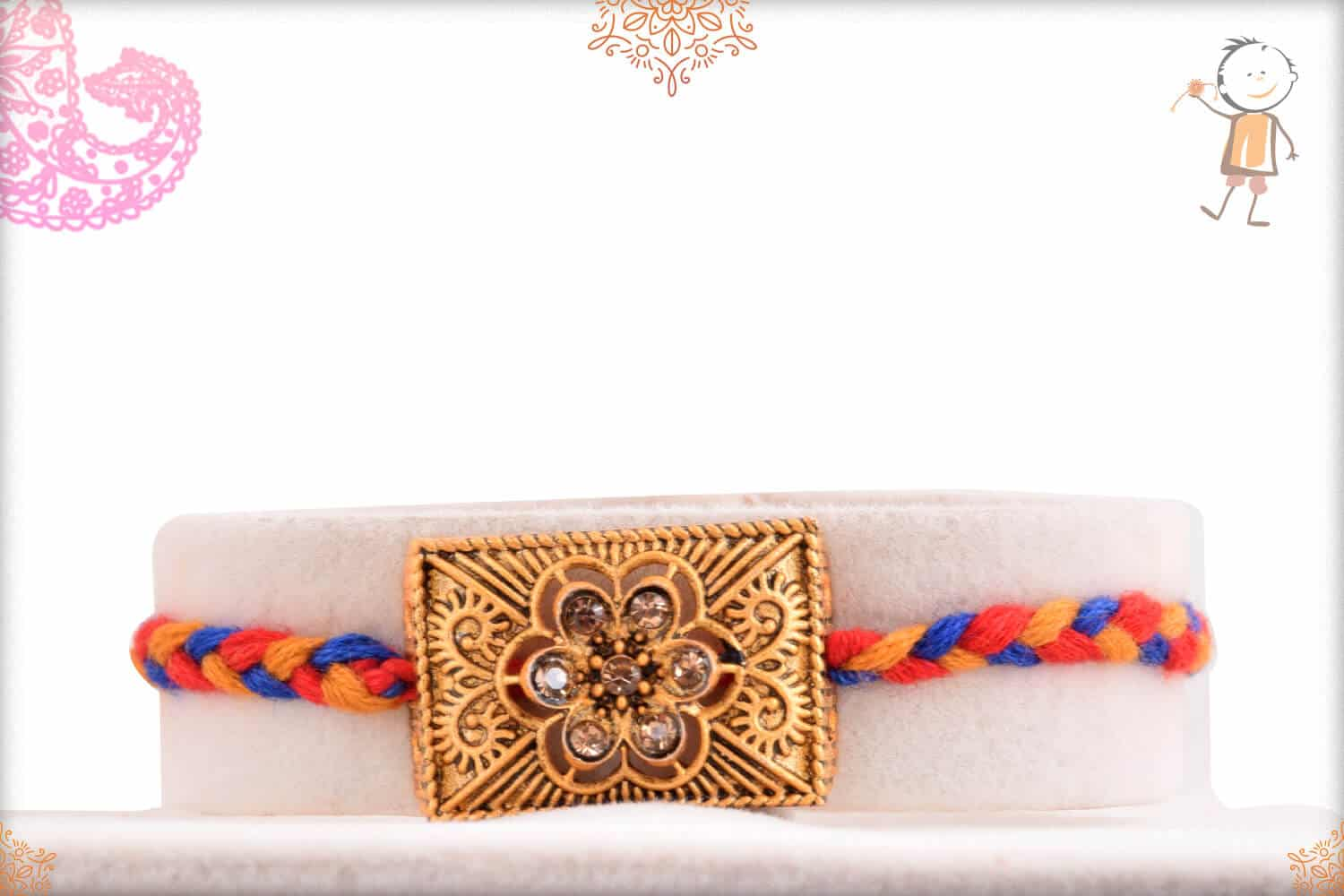 Dimaond Flower Rakhi with Red-Blue Handcrafted Thread 1
