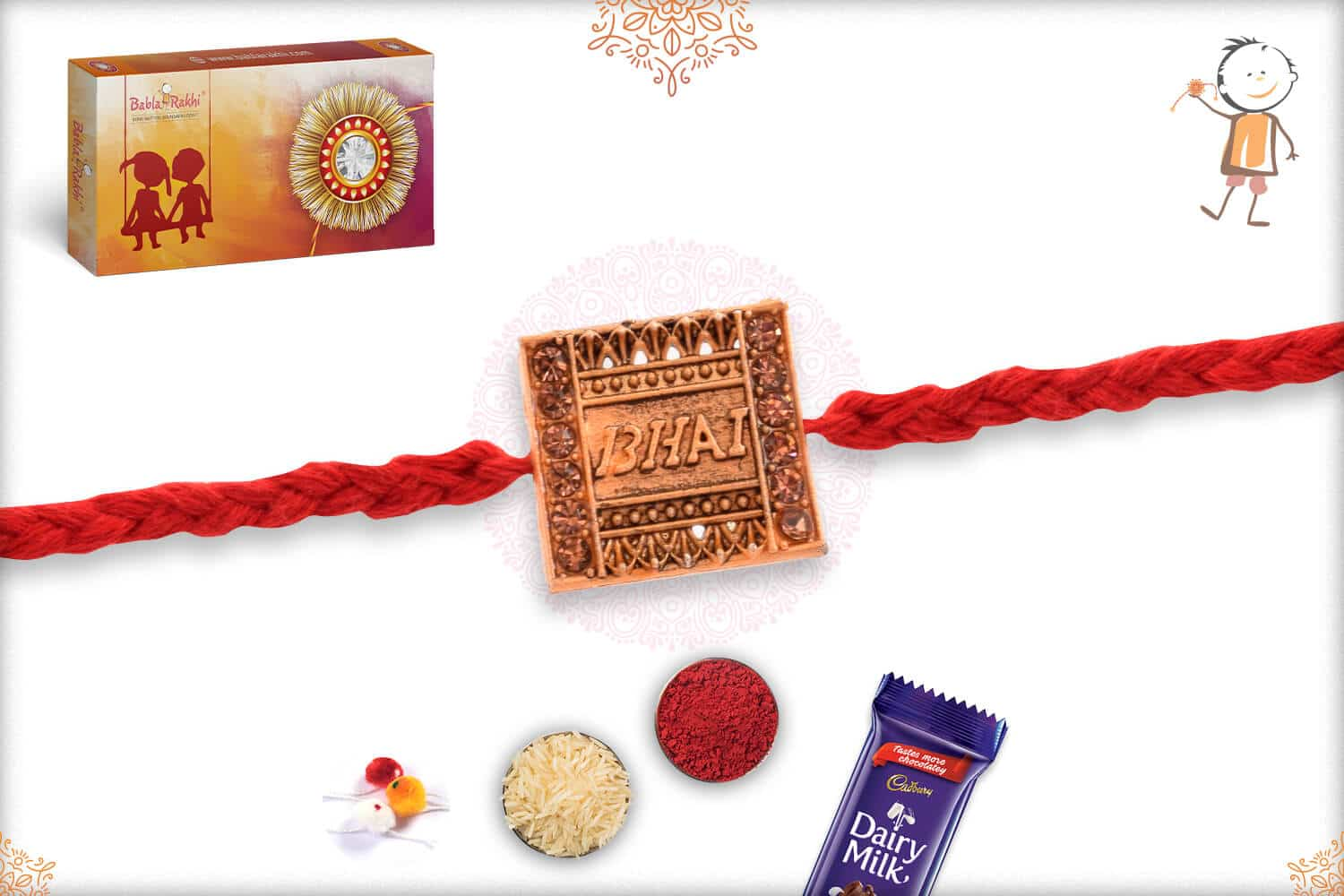 Bhai Rakhi with Red Handcrafted Thread 2
