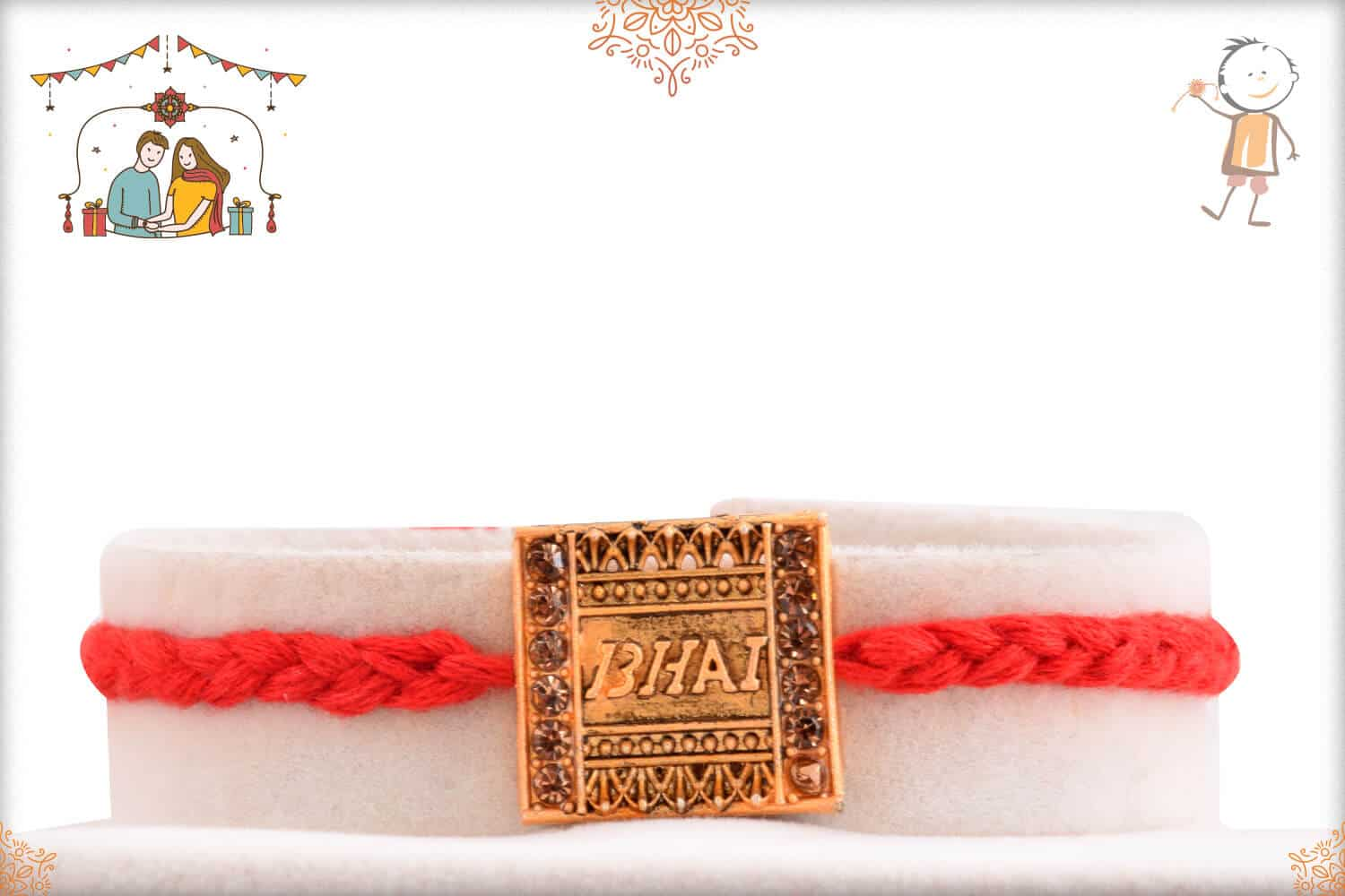 Bhai Rakhi with Red Handcrafted Thread 1