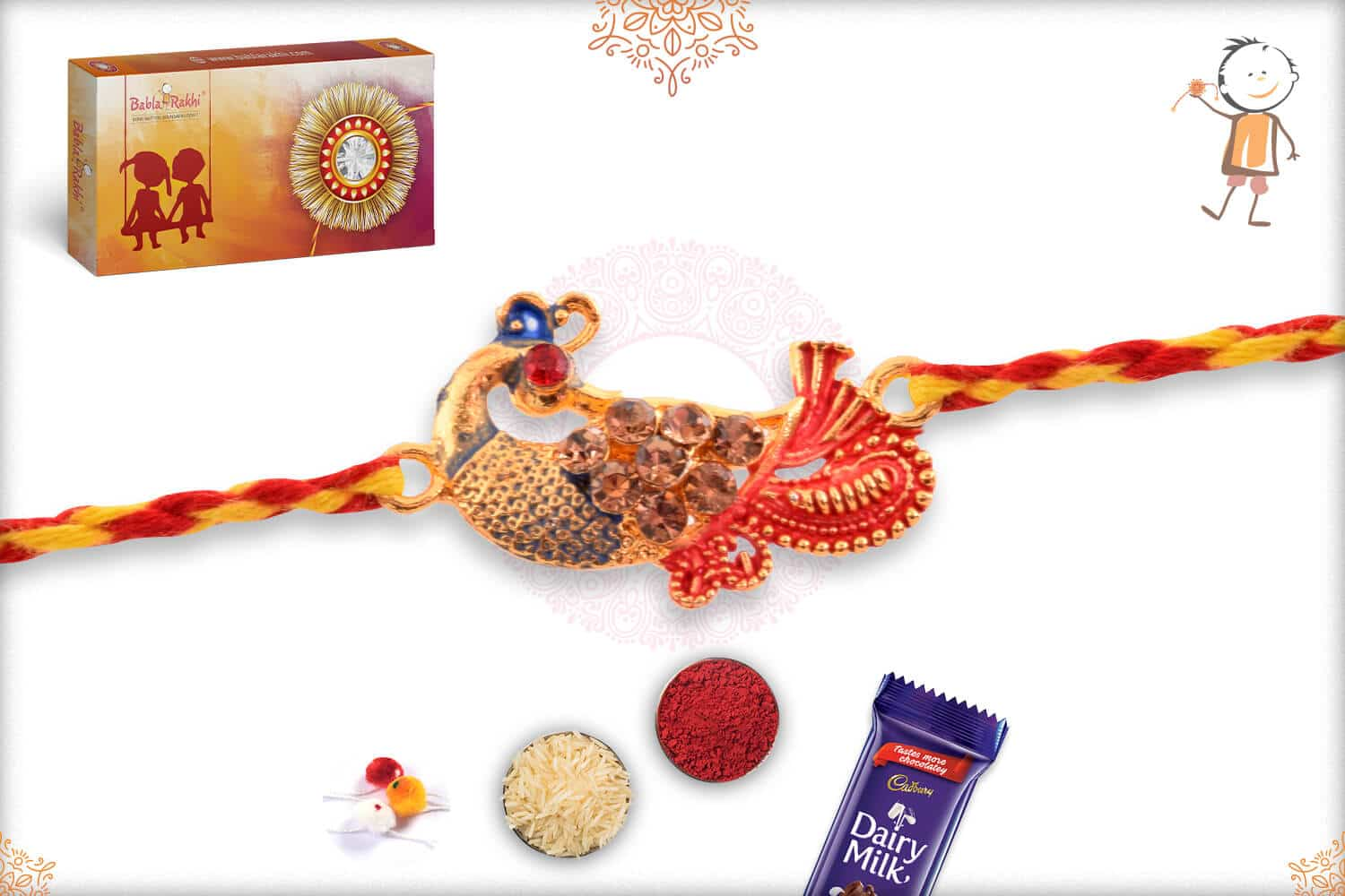 Peacock Rakhi with Red-Yellow Thread 2