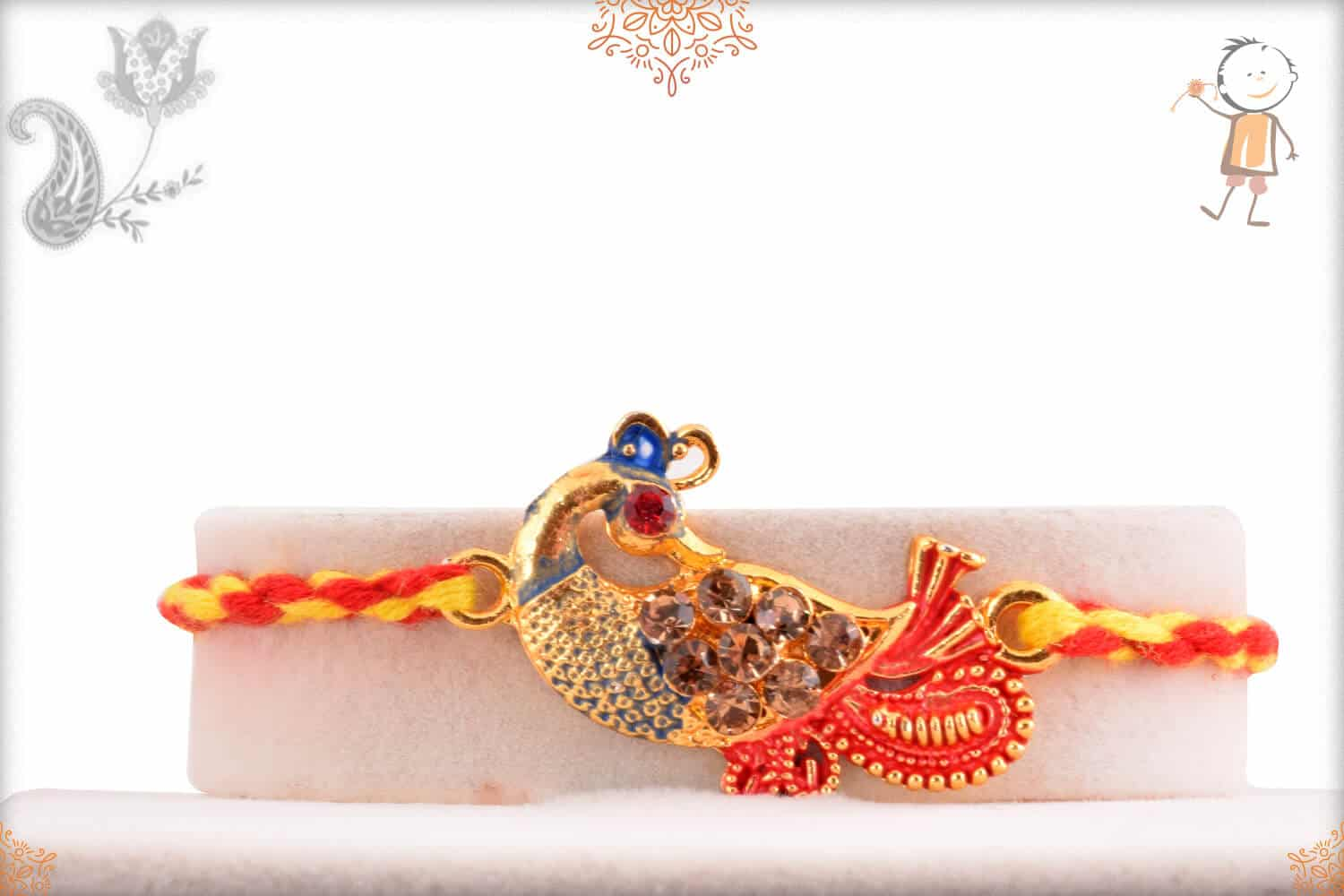 Peacock Rakhi with Red-Yellow Thread 1