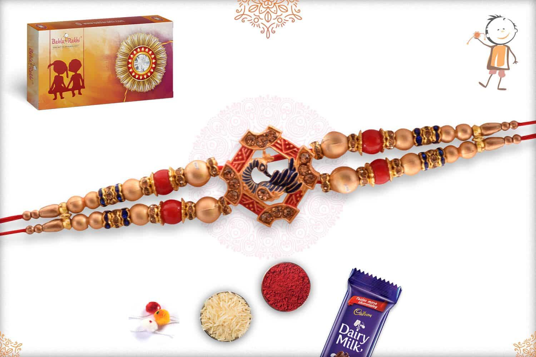 Beautiful Peacock Rakhi with Golden Beads 2