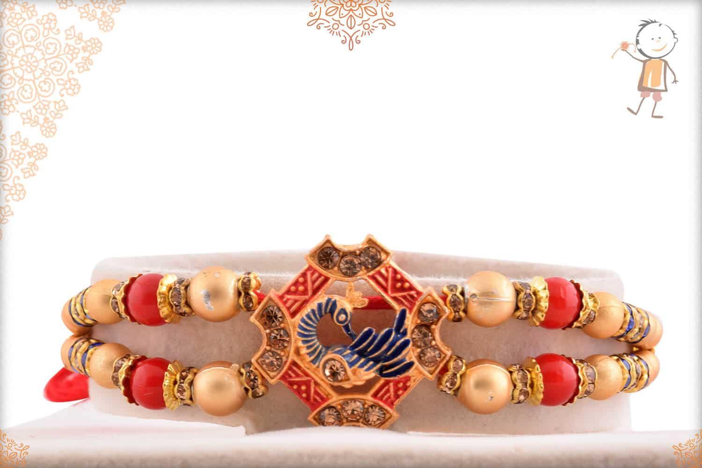 Beautiful Peacock Rakhi with Golden Beads 1