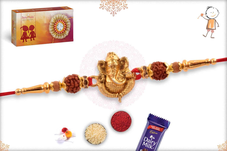 Golden Ganeshji with Rudraksh Rakhi 2