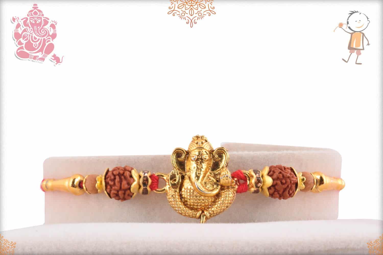 Golden Ganeshji with Rudraksh Rakhi 1