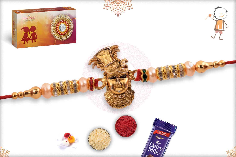 Beautiful Shreenathji Rakhi with Diamonds and Pearls 2