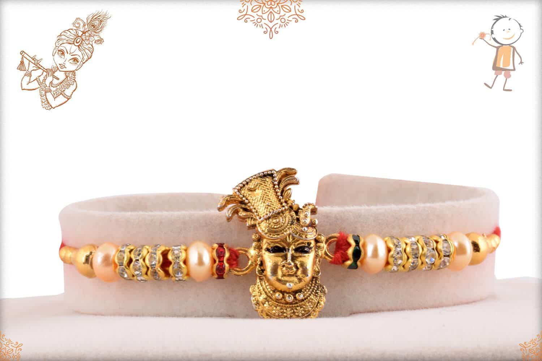 Beautiful Shreenathji Rakhi with Diamonds and Pearls 1