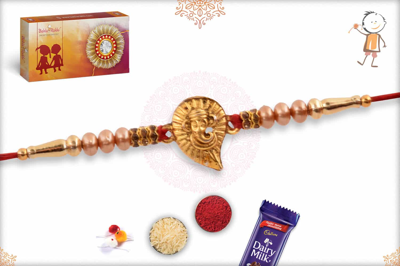 Golden Ganeshji with Pearls Rakhi 2
