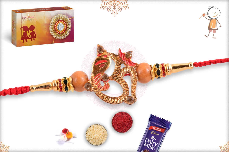 OM with Ganeshji Golden Rakhi 2