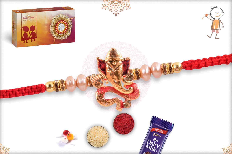 Unique Ganeshji Rakhi with Pearls 2