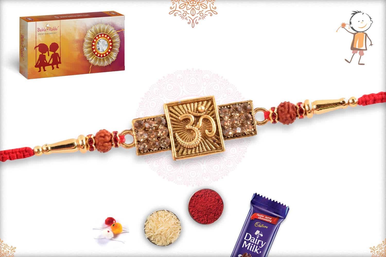 Divine OM rakhi with Diamonds and Rudraksh 2