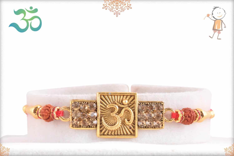 Divine OM rakhi with Diamonds and Rudraksh 1
