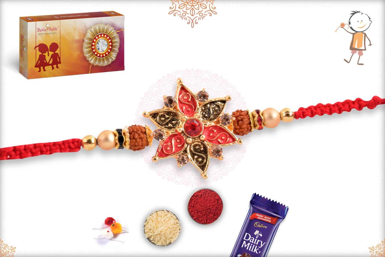 Beautiful Flower Punjabi Rakhi with Rudraksh 2