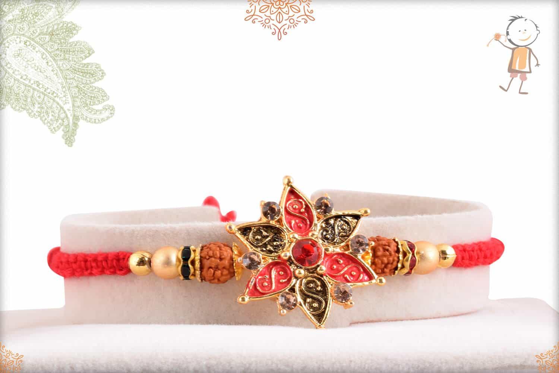 Beautiful Flower Punjabi Rakhi with Rudraksh 1