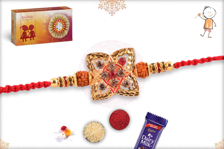 Unique Punjabi Rakhi with Rudraksh and Diamonds 2