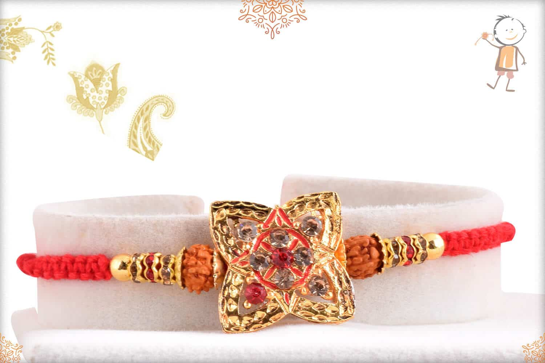 Unique Punjabi Rakhi with Rudraksh and Diamonds 1