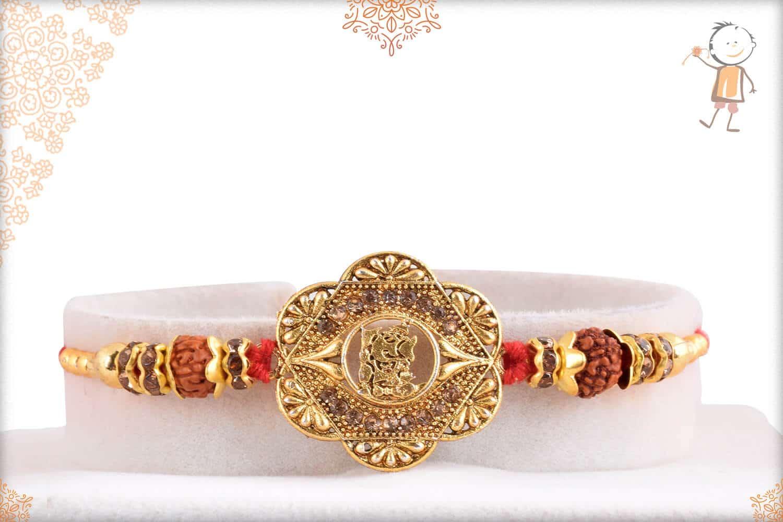 Unique Rakhi with Ganeshji and Rudraksh 1