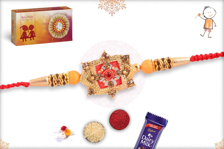 Unique Golden Punjabi Rakhi with Diamonds 2