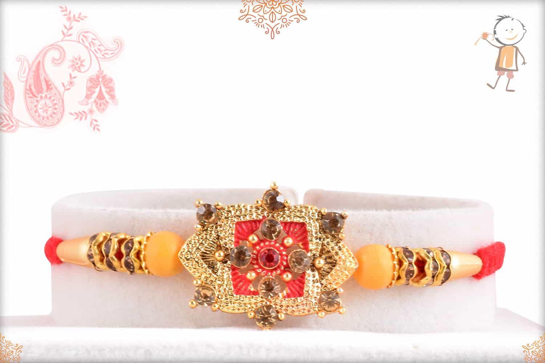 Unique Golden Punjabi Rakhi with Diamonds 1
