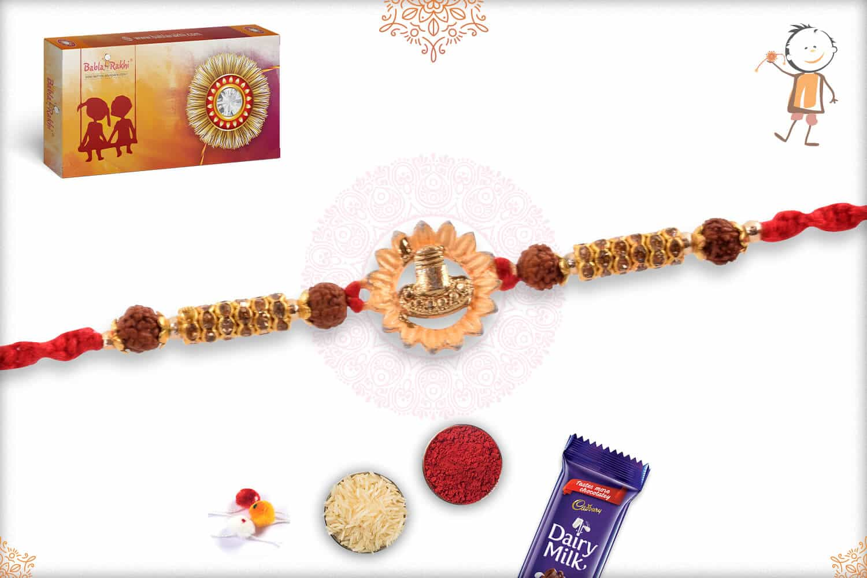 Beautiful Shivling Rakhi with Rudraksh and Diamonds 2