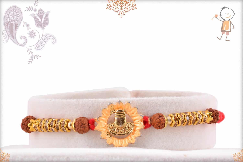 Beautiful Shivling Rakhi with Rudraksh and Diamonds 1